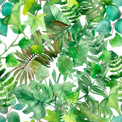 Tapeta Watercolor hand painted nature flora pattern with different green tropical leaves and branches, jungle plants collection on top of each other on the white background