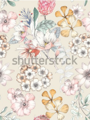 Tapeta Watercolor of flowers, elegant watercolor painting, Yellow continuous pattern cycle