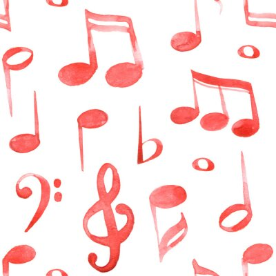 Tapeta Watercolor red ink music notes and keys pattern set