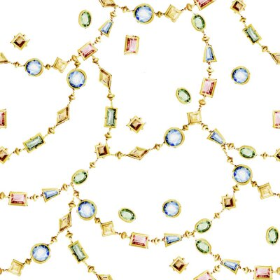 Tapeta Watercolor seamless pattern of  jewelry chains and multicolor gemstones.
