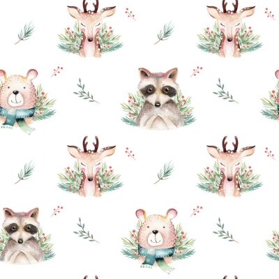 Tapeta Watercolor seamless pattern with cute baby bear, raccoon and deer cartoon animal portrait design. Winter holiday card on white. New year decoration, merry christmas element