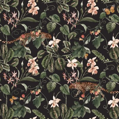 Tapeta Watercolor tropical seamless vector pattern