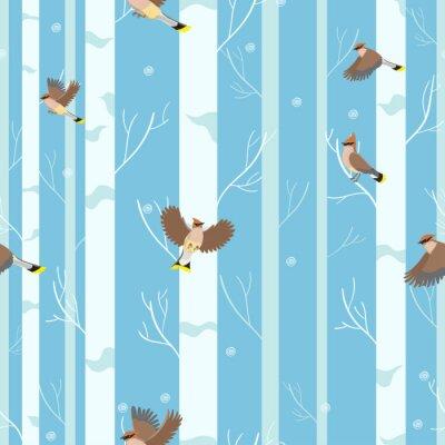 Tapeta Waxwings birds seamless pattern in winter forest.