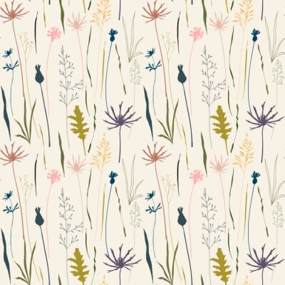 Tapeta Wektor bez szwu deseń kwiatu z dzikich łąki kwiaty, zioła i trawy.