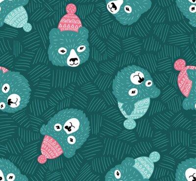 Tapeta Wektor bez szwu deseń z niedźwiedzie głowy. Zima niebieskim tle.