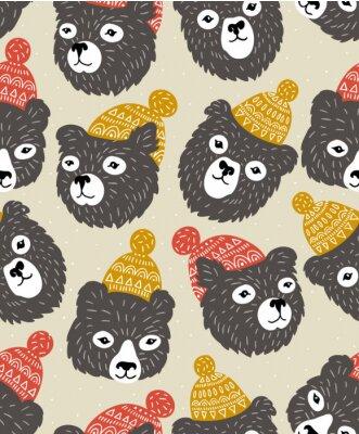 Tapeta Wektor bez szwu deseń z niedźwiedzie głowy. Zimowe przytulne tło.