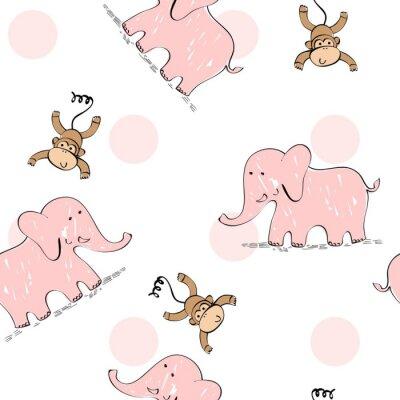 Tapeta Wektor bez szwu deseń z zwierząt kreskówek