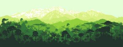Tapeta Wektor bez szwu poziome lasów tropikalnych dżungli z tle gór