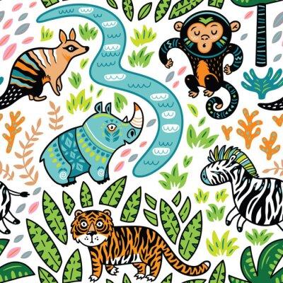 Tapeta Wektor bez szwu tropikalnych deseń z ozdobnych znaków zwierząt
