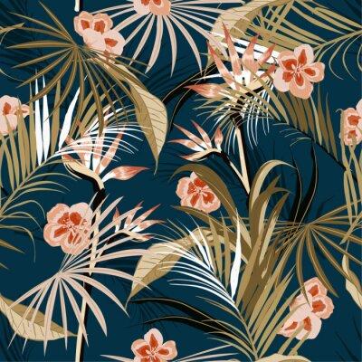 Tapeta wektor bezszwowe piękny artystyczny ciemny tropikalny wzór z egzotycznym lasem. Kolorowy oryginalny stylowy kwiatowy wzór tła,