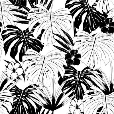Tapeta wektor bezszwowe piękny artystyczny czarno-biały wzór tropikalny z egzotycznym lesie. monotonny kolor oryginalny stylowy kwiatowy wzór tła,