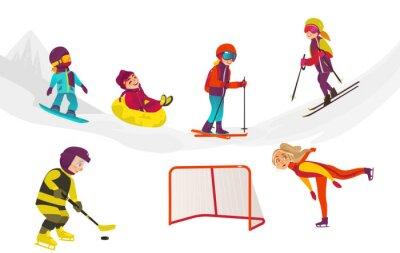 Tapeta wektor cartoon dzieci robi zestaw sportów zimowych na zewnątrz. chłopiec zabawy jazda konna nadmuchiwane gumowe rurki, dziewczyna jazda na łyżwach, chłopcy na snowboardzie i gra w hokeja. Odosobniona