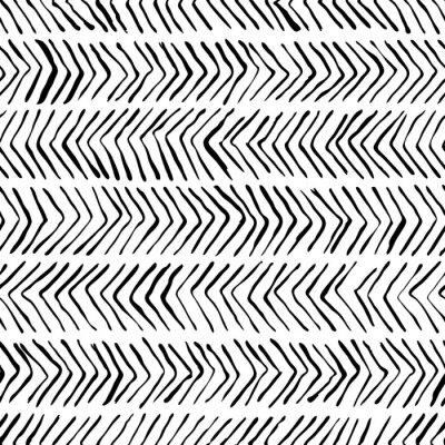 Tapeta Wektor czarny biały wzór w jodełkę. Akwarela, tusz tło. Skandynawski design, modowy nadruk tekstylny