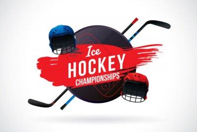 Tapeta Wektor hokeju na lodzie mistrza odznaka i elementy projektu.