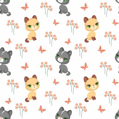 Tapeta Wektor kolorowe bez szwu deseń z wizerunkiem cute zwierząt domowych w stylu kreskówek.