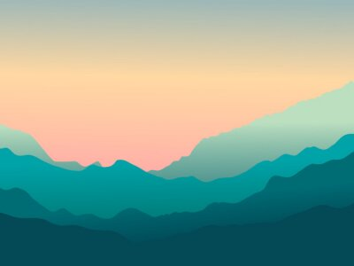 Tapeta Wektor krajobraz z górami. Zachód słońca w górach.