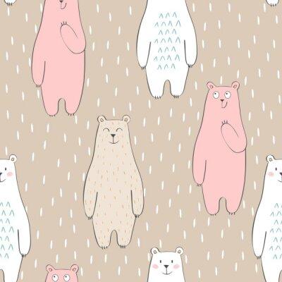 Tapeta Wektor ładny szwu z kreskówki niedźwiedź