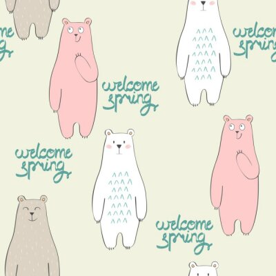 Tapeta Wektor ładny szwu z kreskówki niedźwiedź. Witaj wiosno.