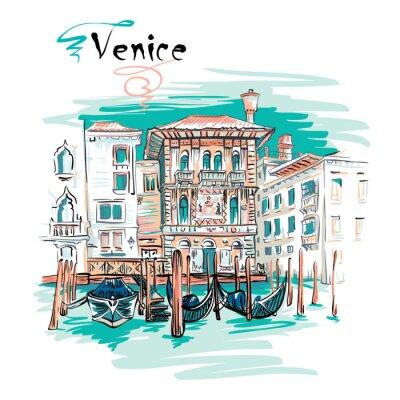 Tapeta Wektor malowniczy widok z Palazzo w Wenecji stylu gotyckim na Canal Grande w lecie dzień, Wenecja, Włochy.