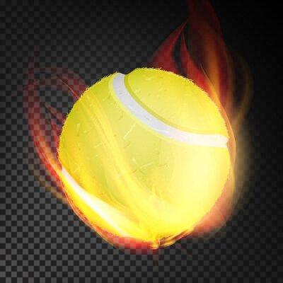 Tapeta Wektor realistyczne piłki tenisowe. Żółta piłka tenisowa w stylu spalania na przezroczystym tle