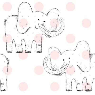 Tapeta Wektor rysowane bez szwu geometryczny wzór z słonia