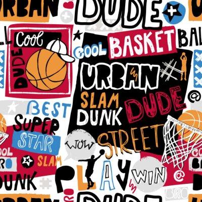 Tapeta Wektor szkic koszykówki wzór dla chłopców, fajny koleś, bro, miejski. Pismo ręczne, hasło. Drukuj design grunge na koszulki, banery, ulotki, imprezy dziecięce, ubrania, media społecznościowe.