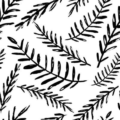 Tapeta Wektor wzór liści bez szwu. Czarne białe tło z akwarela, tusz i marker. Modny skandynawski design