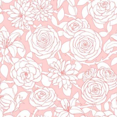Tapeta Wektor wzór powtarzać z konspektu lilii, chryzantemy, kamelii, piwonii i róży na różowym tle. Bezszwowe kwiatowy ornament kwiatów w stylu szkicu. Do tkanin, papieru do pakowania