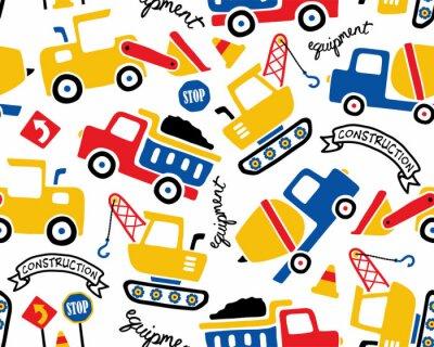 Tapeta Wektor wzór z kreskówki pojazdów budowlanych