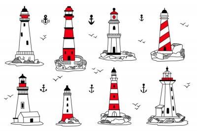 Tapeta Wektor zestaw ikon latarni morskich