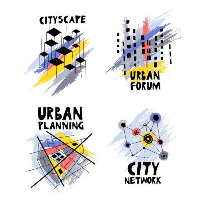 Tapeta Wektor zestaw modnych logo na temat urbanistyki, forum miasta, społeczności, architektury, nieruchomości. Czarne ręcznie rysowane struktury na tle kolorowych smug szczoteczki.