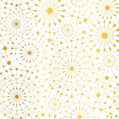 Tapeta Wektor Złoty White Abstract Network Metalowe Koła bezszwowe tło wzór. Great dla tekstury tkaniny elegancka złota, karty, zaproszenia ślubne, tapety.