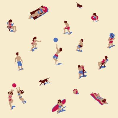 Tapeta Wektorowa ilustracja ludzie sunbathing na piasek plaży. Bezszwowy wzór / tło / tekstura. Zestaw znaków.
