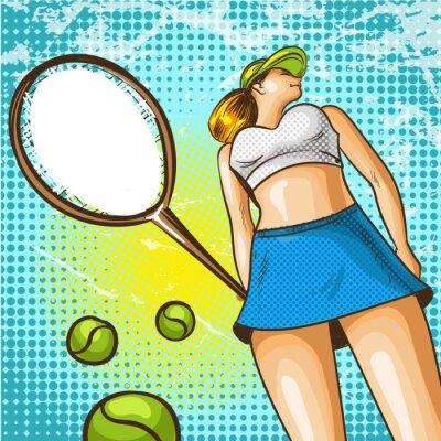 Tapeta Wektorowa pop sztuki ilustracja gracz w tenisa z kantem