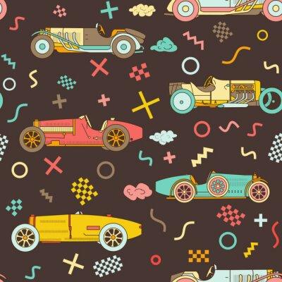 Tapeta Wektorowego biegowego retro sportowego samochodu bezszwowy wzór. Roczników samochody odizolowywający na białym tle. Wzór w stylu Memphis