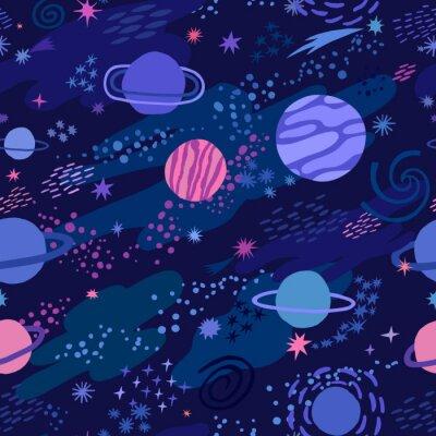 Tapeta Wektorowej przestrzeni bezszwowy wzór z gwiazdą i planetą