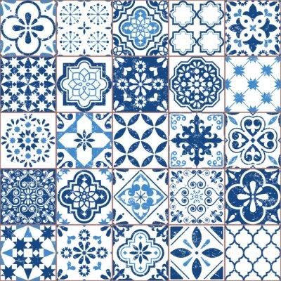 Tapeta Wektorowy Azulejo płytki wzór, portugalczyk lub Hiszpańska retro stara płytki mozaika, Śródziemnomorski bezszwowy marynarki wojennej błękita projekt