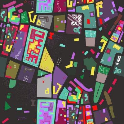 Tapeta Wektorowy bezszwowy kolorowy wzór abstrakcjonistyczna miasto mapa na czarnym tle.