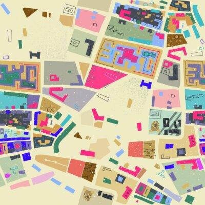 Tapeta Wektorowy bezszwowy wzór abstrakcjonistyczna miasto mapa w roczników colours.
