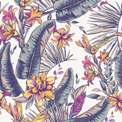 Tapeta Wektorowy bezszwowy wzór tropikalni liście, Egzotyczny natura tło