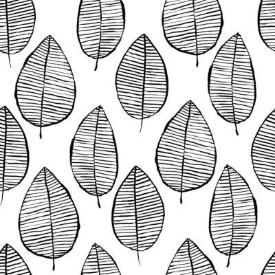 Tapeta Wektorowy bezszwowy wzór z akwarelą wręcza patroszonych liście. Czarno-białe tło konspektu. Modna skandynawska koncepcja projektowania modowego druku tekstylnego. Charakter ilustracja.