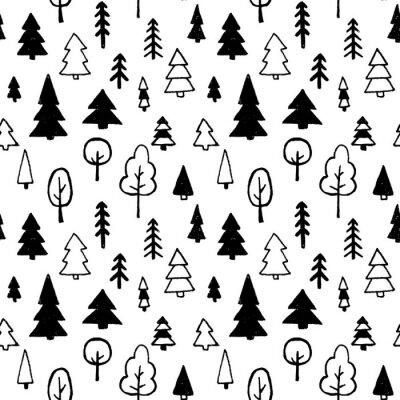 Tapeta Wektorowy bezszwowy wzór z drzewami