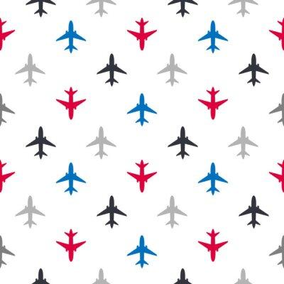 Tapeta Wektorowy bezszwowy wzór z kolorów płaskimi samolotami