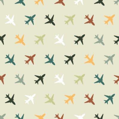 Tapeta Wektorowy bezszwowy wzór z kolorów samolotami dla dzieciaków