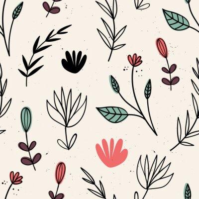 Tapeta Wektorowy bezszwowy wzór z kwiatami. Motywy skandynawskie. Ręcznie rysowane styl