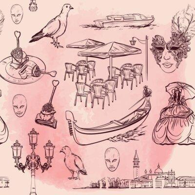 Tapeta Wenecja Akwarela bezszwowe wzór