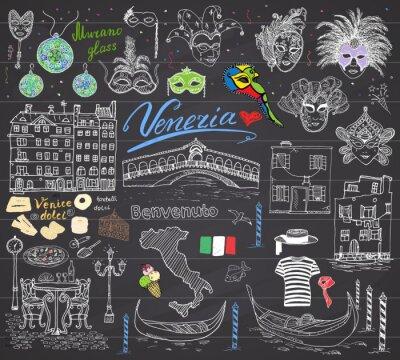 Tapeta Wenecja elementy szkicu. Ręcznie rysowane zestaw z flagą, mapa, gondole gondolier ubiera, domy, pizza, słodycze, tradycyjnych karnawałowych masek weneckich, mostu rynkowej. Rysowanie Doodles na tablic