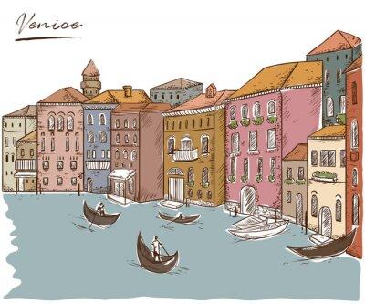 Tapeta Wenecja. Pejzaż z domami, kanałami i łodziami. Ilustracji wektorowych rocznika w stylu szkicu
