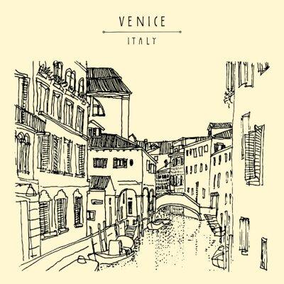 Tapeta Wenecja, Włochy. Hand wyciągnąć pocztówki w wektorze