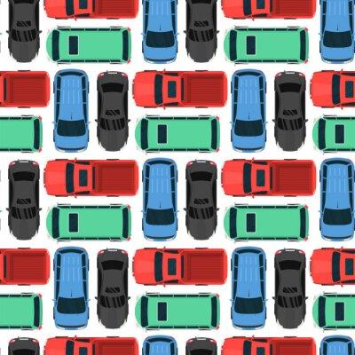 Tapeta Widok z góry kolorowe zabawki samochodowe bezszwowe tło wzór pickup samochód transportu koła transport projektowania ilustracji wektorowych.
